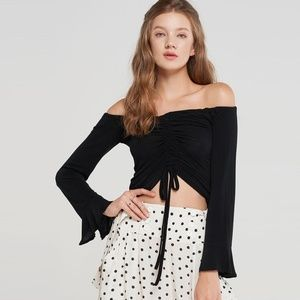 Storets Amelia Ruched Bell Sleeve Top